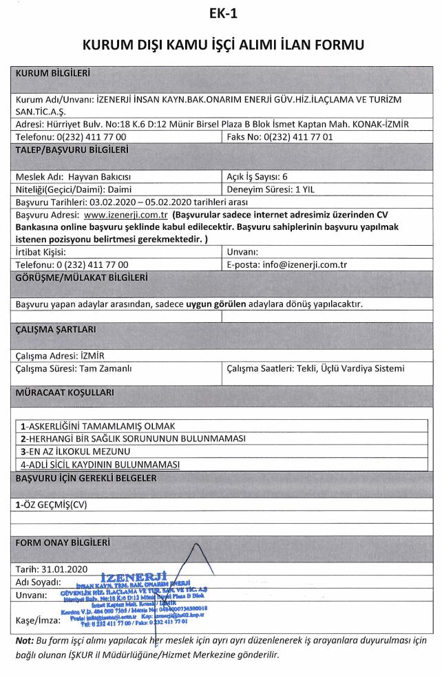 İzmir Büyükşehir Belediyesi İZENERJİ 101 Personel Alımı Tablo 23