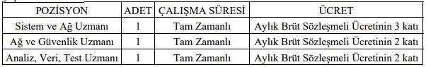İstanbul Medeniyet Üniversitesi Sözleşmeli 3 Bilişim Personeli Alımı İlanı Tablo 1
