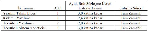 İzmir Katip Çelebi Üniversitesi Sözleşmeli 5 Bilişim Personeli Alımı İlanı Tablo 1