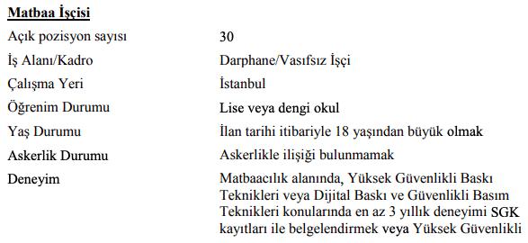 Darphane ve Damga Matbaası Genel Müdürlüğü 47 İşçi Personel Alımı İlanları 9