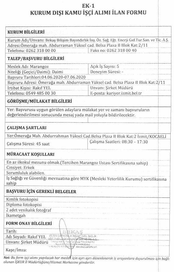 İzmit Belediyesi BEKAŞ 85 İşçi Personel Alımı Detayları 4