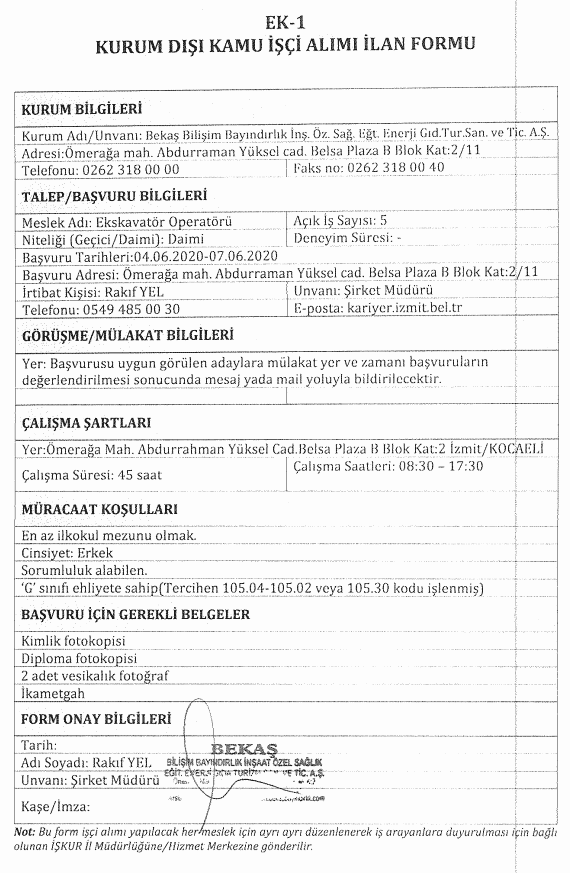 İzmit Belediyesi BEKAŞ 85 İşçi Personel Alımı Detayları 6