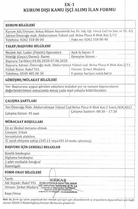 İzmit Belediyesi BEKAŞ 85 İşçi Personel Alımı Detayları 8