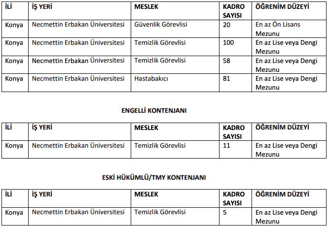 Necmettin Erbakan Üniversitesi 275 İşçi Personel Alımı Detayları