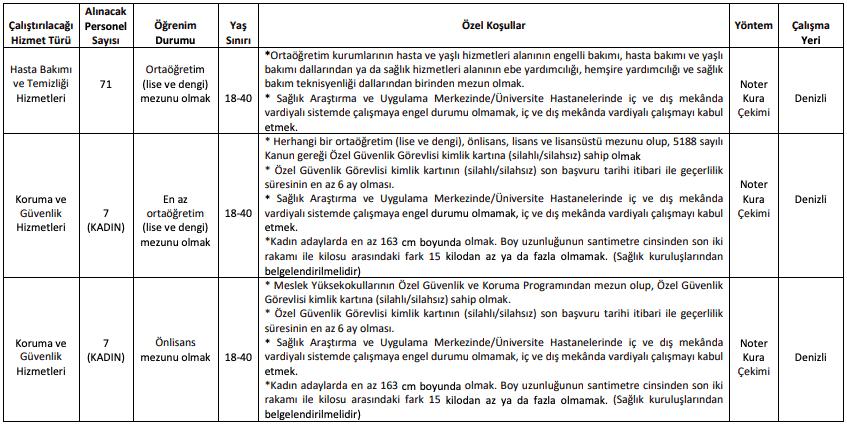 Pamukkale Üniversitesi 145 İşçi Personel Alımı Detayları 1